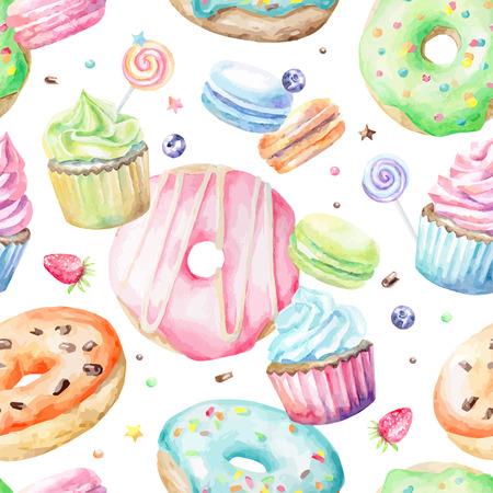Modelo delicioso de la acuarela dulce con macarons, magdalenas, donuts. Dibujado a mano a fondo. Ilustración del vector. Foto de archivo - 44184591