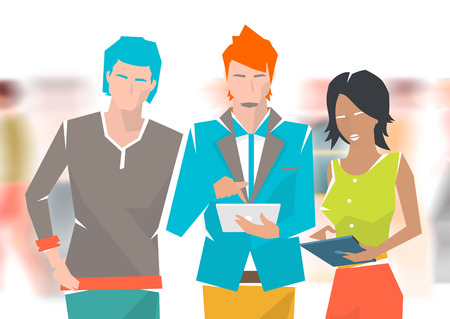 discussion: Concept of meeting and discussion between young people on the blurred background. Vector flat illustration.