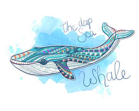 Patterned whale on grunge background / Indian / totem / tattoo design. It may be used for design of a t-shirt, bag, postcard, a poster and so on.