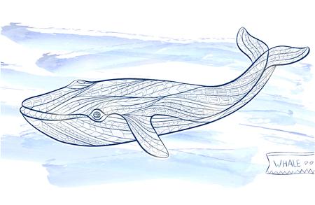 totem indien: baleine modelée sur le fond grunge  design  totem  tatouage indien. Il peut être utilisé pour la conception d'un t-shirt, sac, carte postale, une affiche et ainsi de suite. Illustration
