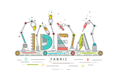 Concept de la création et de l'idée de la construction / ligne de production robotisée / fabrication et de la machine / typographie Vecteurs