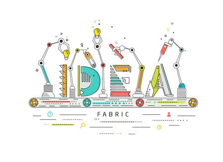 Concepto de la creación y la idea de construcción / línea de producción robótica / máquina de fabricación y / tipografía Ilustración de vector