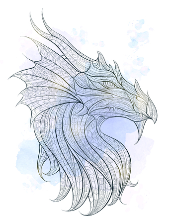 tribal dragon: Patterned head of the dragon on the grunge background. African  indian  totem  tattoo design. It may be used for design of a t-shirt, bag, postcard, a poster and so on. Illustration