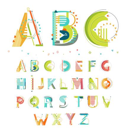 Alfabet  geometrische stijl  brieven Stock Illustratie
