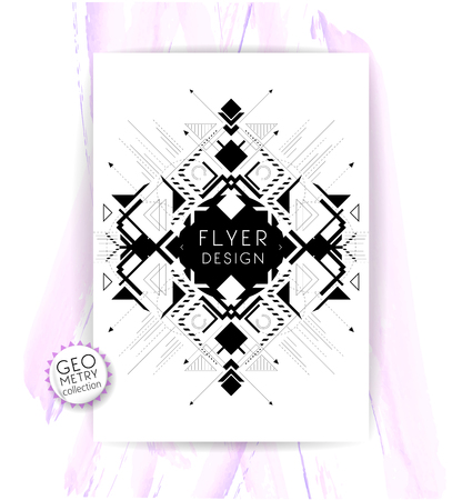 Geometric abstract flyer  brochure template  design elements  modern background Çizim