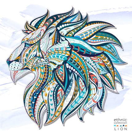tatouage: Tête motif du lion sur le fond grunge. Afrique  indien conception  totem  de tatouage. Il peut être utilisé pour la conception d'un t-shirt, sac, carte postale, une affiche et ainsi de suite.