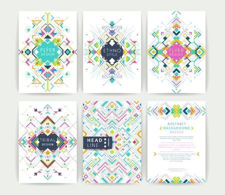 幾何学的な抽象的なカラフルなチラシのセットパンフレットのテンプレートデザインモダンな背景ライン アート