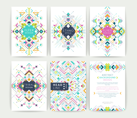 Set of geometric abstract colorful flyers / brochure templates / design elements / modern backgrounds / line art