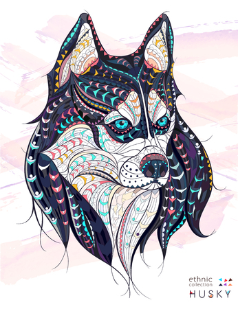 Patterned head of the dog husky on the grunge background. African / indian / totem / tattoo design. It may be used for design of a t-shirt, bag, postcard, a poster and so on. Иллюстрация