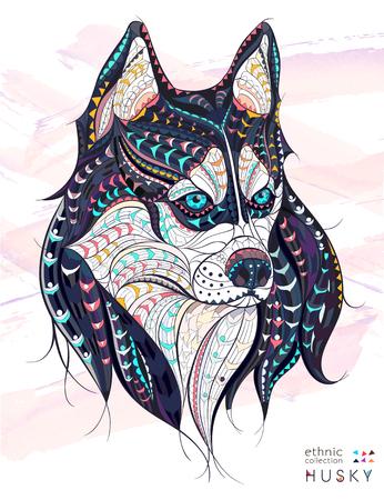 wilkołak: Wzorzyste szef pies husky na tle grunge. Afrykański  indian design  totem  tatuaż. Może być stosowany do projektowania t-shirt, torby, pocztówka, plakat i tak dalej. Ilustracja