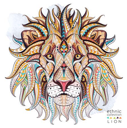 Cabeza modelada del león en el fondo del grunge. Diseño / totem / tatuaje de África / India. Puede ser utilizado para el diseño de una camiseta, bolso, tarjeta postal, un cartel y así sucesivamente. Foto de archivo - 55087249