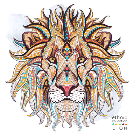 Patterned head of the lion on the grunge background. African / indian / totem / tattoo design. It may be used for design of a t-shirt, bag, postcard, a poster and so on. Imagens - 55087249