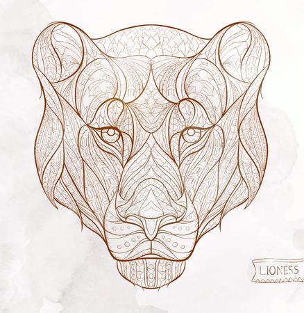 グランジ背景に雌ライオンの柄の頭。アフリカインドトーテムタトゥー デザイン。T シャツ、バッグ、ポストカード、ポスターのデザインなどな  イラスト・ベクター素材
