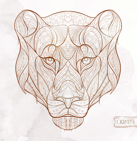 Patterned head of the lioness on the grunge background. African  indian  totem  tattoo design. It may be used for design of a t-shirt, bag, postcard, a poster and so on. Иллюстрация