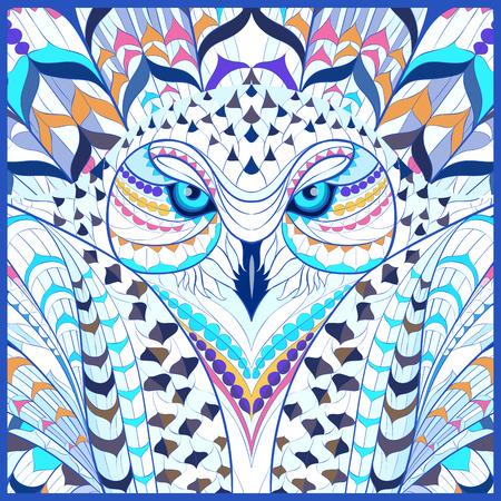 totem indien: harfang des neiges Patterned. conception  totem  de tatouage indien. Il peut être utilisé pour la conception d'un t-shirt, sac, carte postale, une affiche et ainsi de suite. Illustration