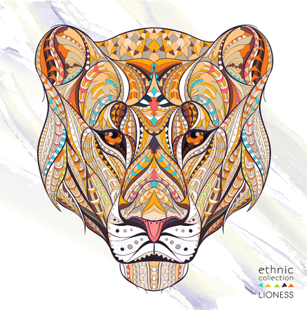 Patterned head of the lioness on the grunge background. African  indian  totem  tattoo design. It may be used for design of a t-shirt, bag, postcard, a poster and so on. Ilustração