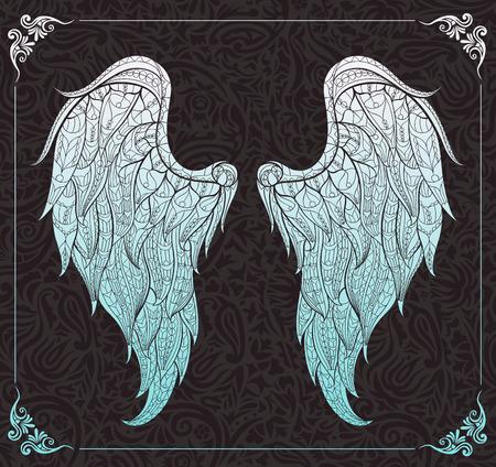 Patterned vleugels op de florale achtergrond. Afrikaanse / Indiase / totem / tattoo ontwerp. Het kan worden gebruikt voor het ontwerp van een t-shirt, tas, briefkaart, een poster en ga zo maar door.