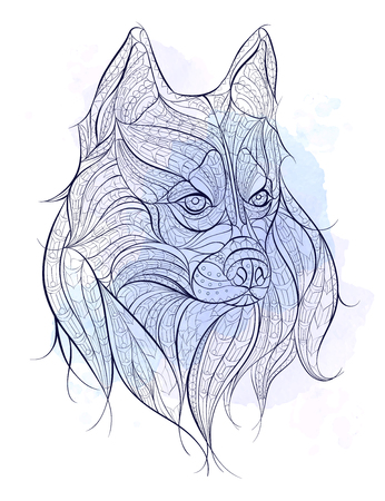 Patterned head of the dog husky on the grunge background. African / indian / totem / tattoo design. It may be used for design of a t-shirt, bag, postcard, a poster and so on. Stock Illustratie