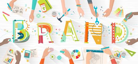Concept van het creëren en opbouwen van naamsbekendheid / werken in een multiculturele team / coworking / typografie Stockfoto - 55087271