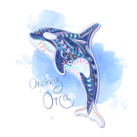 Patterned orcinus orca on grunge background / Indian / totem / tattoo design. It may be used for design of a t-shirt, bag, postcard, a poster and so on.
