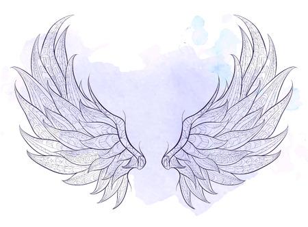 グランジ背景模様の翼。アフリカインドトーテムタトゥー デザイン。T シャツ、バッグ、ポストカード、ポスターのデザインなどなど使用する可  イラスト・ベクター素材