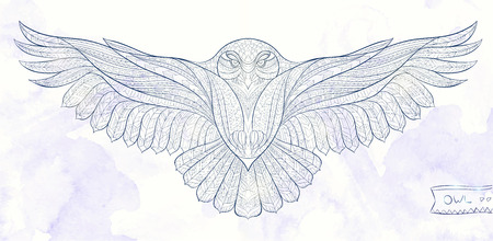 Patterned snowy owl on the grunge background. Indian / totem / tattoo design. It may be used for design of a t-shirt, bag, postcard, a poster and so on. Stock Illustratie