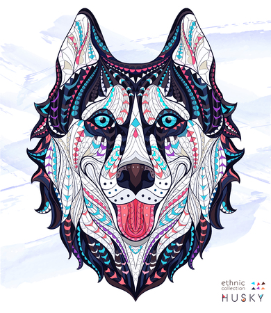 Patterned head of the dog husky on the grunge background. African / indian / totem / tattoo design. It may be used for design of a t-shirt, bag, postcard, a poster and so on. Çizim