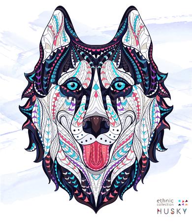 totem indien: tête modelée du husky de chien sur le fond grunge. Africaine  indien conception  totem  de tatouage. Il peut être utilisé pour la conception d'un t-shirt, sac, carte postale, une affiche et ainsi de suite.