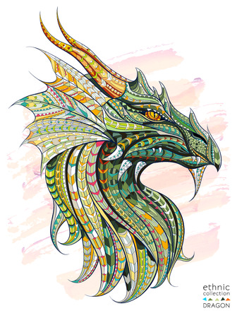 Patterned head of the dragon on the grunge background. African  indian  totem  tattoo design. It may be used for design of a t-shirt, bag, postcard, a poster and so on. Ilustração