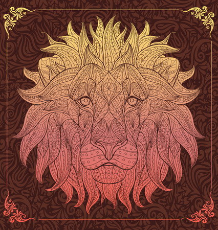 Patterned head of the lion on the floral background. African  indian  totem  tattoo design. It may be used for design of a t-shirt, bag, postcard, a poster and so on.
