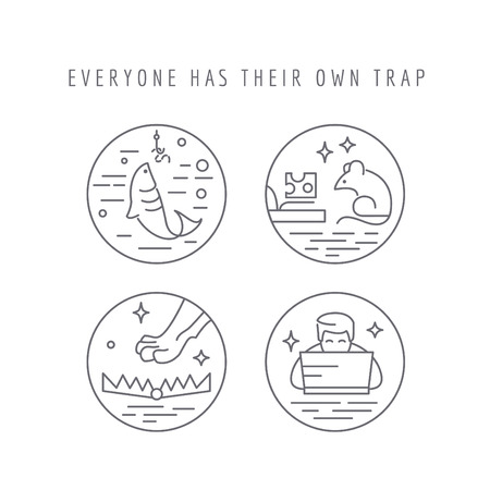 mouse trap: Everyone has their own trap  concept of weaknesses Illustration