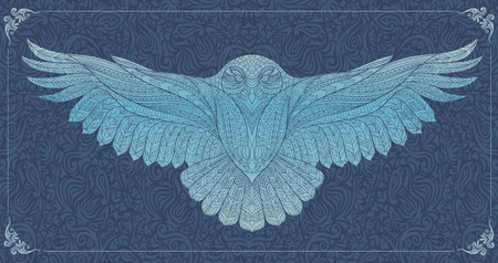 owl tattoo: Patterned snowy owl on the grunge background. Indian  totem  tattoo design. It may be used for design of a t-shirt, bag, postcard, a poster and so on.
