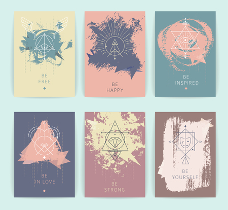 Set of vector geometric alchemy symbols with inspired phrases on hand-drawn background  abstract occult and mystic signs  business card templates  line hipster logotype. Illustration