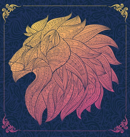 Patterned head of the lion on the floral background. African / indian / totem / tattoo design. It may be used for design of a t-shirt, bag, postcard, a poster and so on.