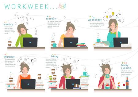 empleados trabajando: Concepto de la semana de trabajo de la oficina de los empleados  distribuci�n de energ�a humana entre los d�as de la semana  capacidad de trabajo  eficiencia Vectores