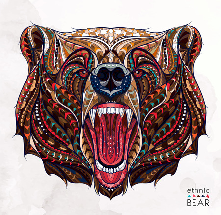 Patterned head of the growling bear on the grunge background. African  indian  totem  tattoo design. It may be used for design of a t-shirt, bag, postcard, a poster and so on. Иллюстрация