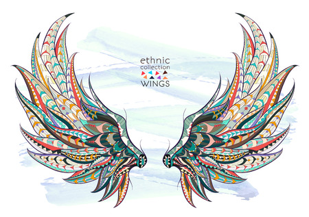Patterned wings on the grunge background. African  indian  totem  tattoo design. It may be used for design of a t-shirt, bag, postcard, a poster and so on. Иллюстрация