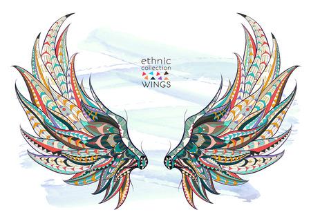 Wzorzyste skrzydła na tle grunge. Afrykański / indian design / totem / tatuaż. Może być stosowany do projektowania t-shirt, torby, pocztówka, plakat i tak dalej. Ilustracje wektorowe