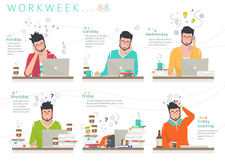 human energy: Concept of workweek of office employee   distribution of human energy between days of week  working capacity  efficiency