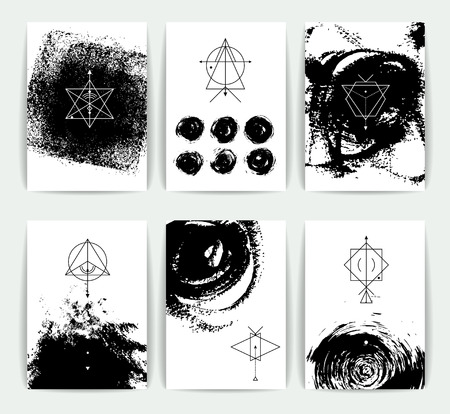 Set of vector geometric alchemy symbols  on hand-drawn background / abstract occult and mystic signs / business card templates / line hipster logotype. Stock Illustratie