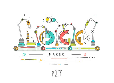 factory automation: Concept of creating and building logo  Robotic production line  manufacturing and machine  typography