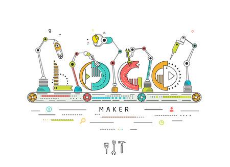 Concepto de la creación y el logotipo de la construcción / línea de producción robótica / máquina de fabricación y / tipografía