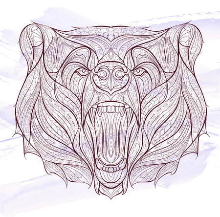 Patterned head of the growling bear on the grunge background. African  indian  totem  tattoo design. It may be used for design of a t-shirt, bag, postcard, a poster and so on. Çizim