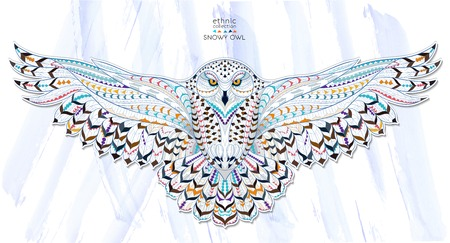 Patterned snowy owl on the grunge background. Indian  totem  tattoo design. It may be used for design of a t-shirt, bag, postcard, a poster and so on.