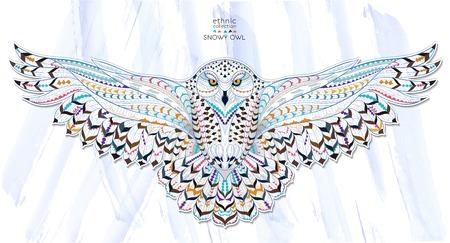 sowa: Wzorzyste sowa śnieżna na tle grunge. Indyjski design  totem  tatuaż. Może być stosowany do projektowania t-shirt, torby, pocztówka, plakat i tak dalej.