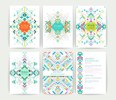 Set of geometric abstract colorful flyers  brochure templates  design elements  modern backgrounds  line art