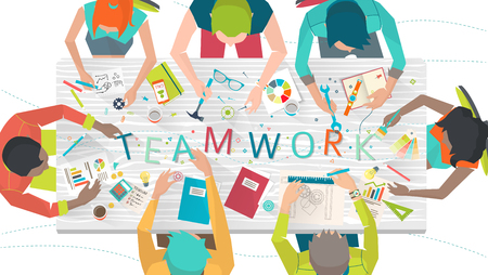 multicultural: Concept of  working  in multicultural team  coworking  typography Illustration