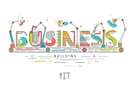 Koncepcja tworzenia i budowania biznesu / Robotic linię produkcyjną / Produkcja i maszynę / typografii Ilustracje wektorowe