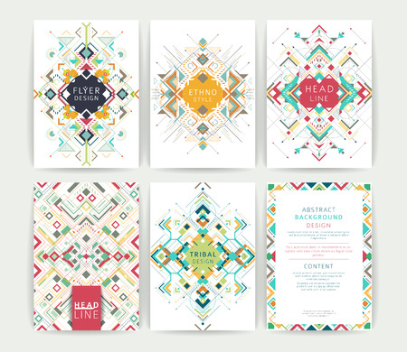 tribal: Set of geometric abstract colorful flyers  brochure templates  design elements  modern backgrounds  line art
