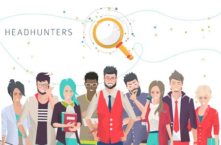 personas de pie: Ilustración moderna  concepto de la búsqueda figura profesional para su trabajo  Headhunters personas  comerciales con diferentes acciones, sentimientos y emociones  hombres y mujeres creativos  se puede utilizar para los sitios web y banners